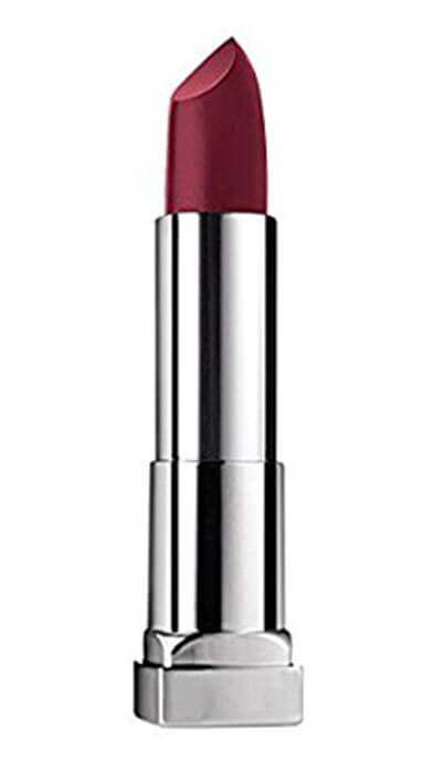 Burgundy Matte Stiletto Nails With Glossy Tips: Maybelline ColorSensational Creamy Matte Lipstick